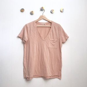 Lush V-Neck light pink pocket soft tee T-shirt | M